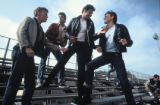 Kelly Ward, Barry Pearl, John Travolta, and Jeff Conaway in GREASE, 1978